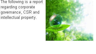 The following is a report regarding corporate governance, CSR and intellectual property.