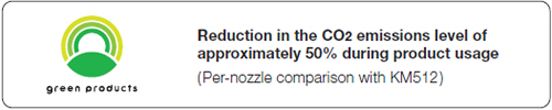 Reduction in the CO2 emissions level of approximately 50% during product usage(Per-nozzle comparison with KM512)