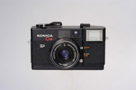 The world's first 35mm camera with built-in flash and auto exposure functions, Konica C35EF, is launched