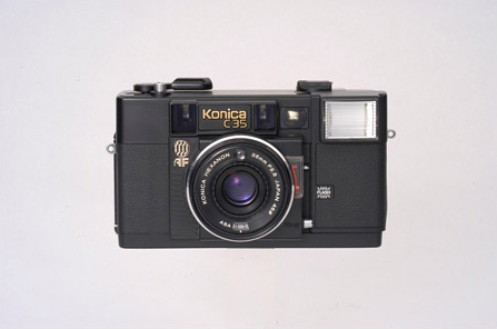 The world's first 35mm compact autofocus camera, Konica C35AF, is launched